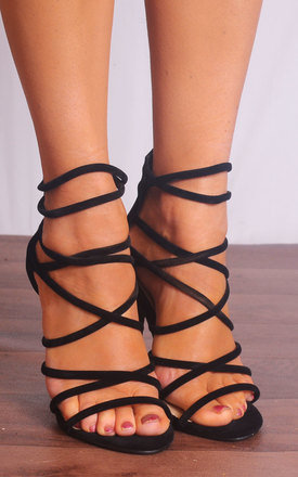 Black Faux Suede Strappy Sandals High Heels Peep Toes by Shoe Closet Product photo