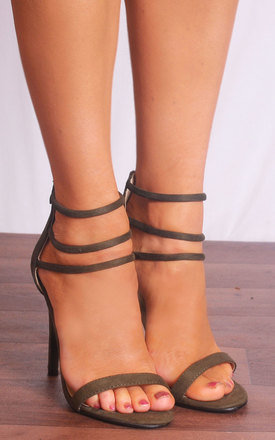 Khaki Green Barely There Ankle Strap Strappy Sandals Stilettos High Heels by Shoe Closet