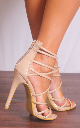 Nude Patent Barely There Strappy Sandals Stilettos High Heels by Shoe Closet