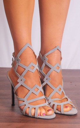 Grey High Heel Sandals with Geometric Design by Shoe Closet