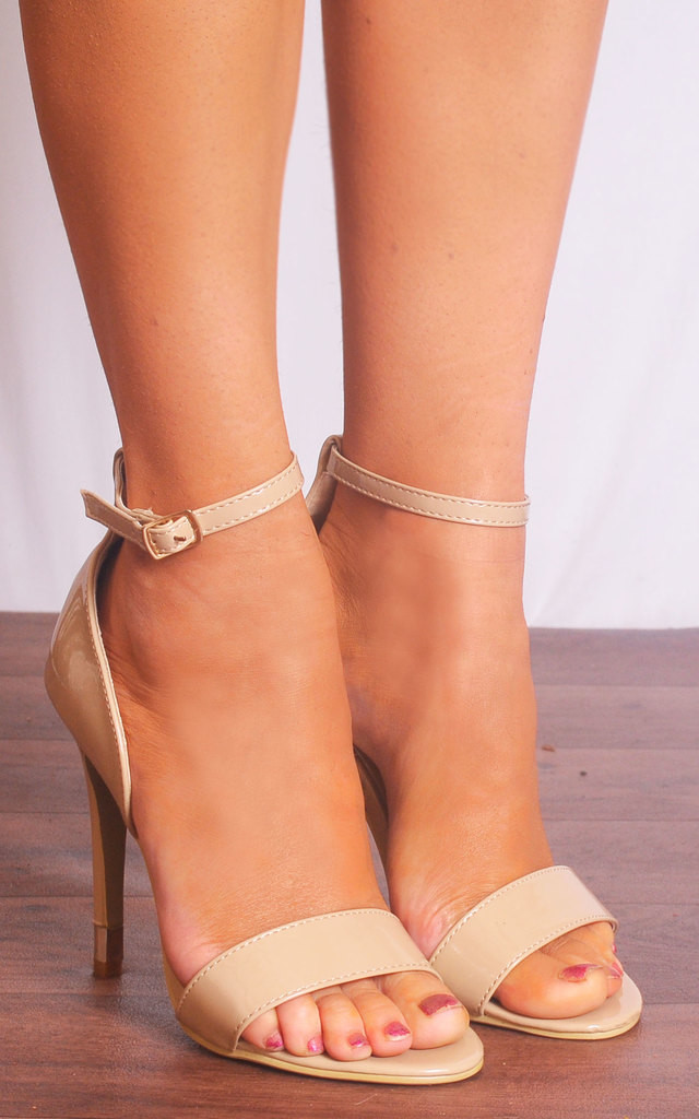 Nude Patent Barely There Ankle Strap Strappy Sandals High Heels by Shoe Closet