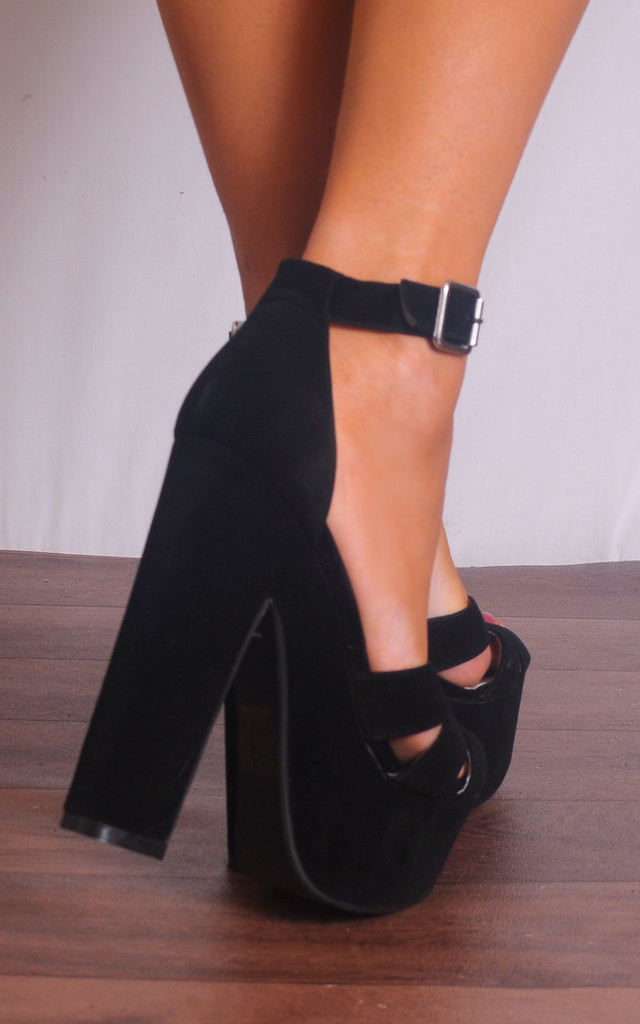 Black Faux Suede Barely There Ankle Strap Strappy Sandals High Heels by Shoe Closet