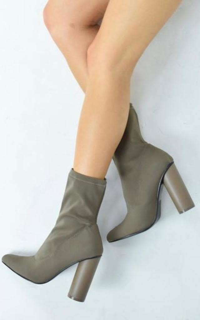 Sock Fit Round Block Heel Ankle Boot - Khaki by AJ | VOYAGE