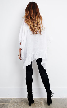 Oversized White Linen Ruffle Top by Lilah Rose