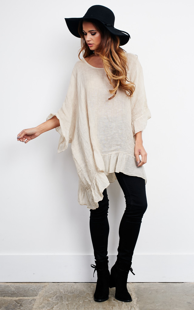 Oversized Oatmeal Linen Ruffle Top by Lilah Rose