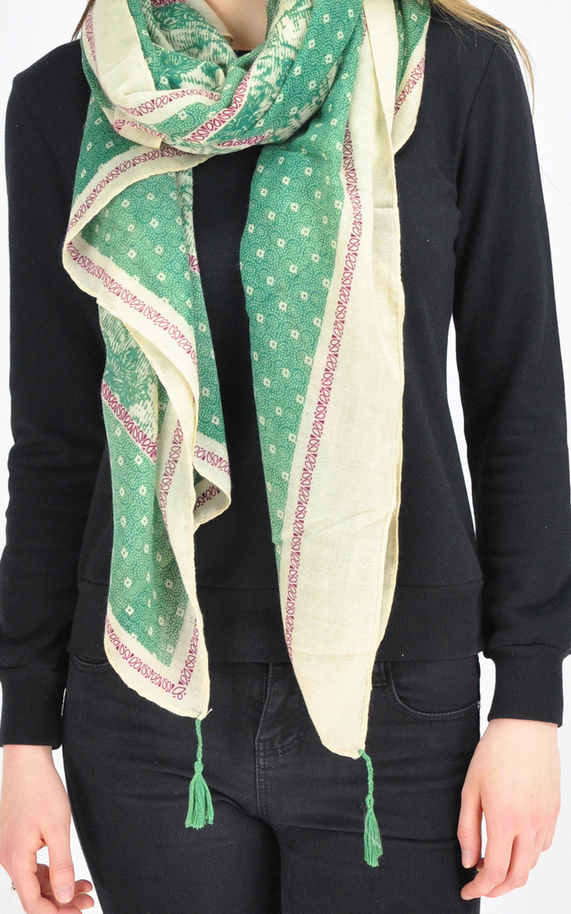 PATTERNED TASSEL SCARF IN GREEN by GOLDKID LONDON