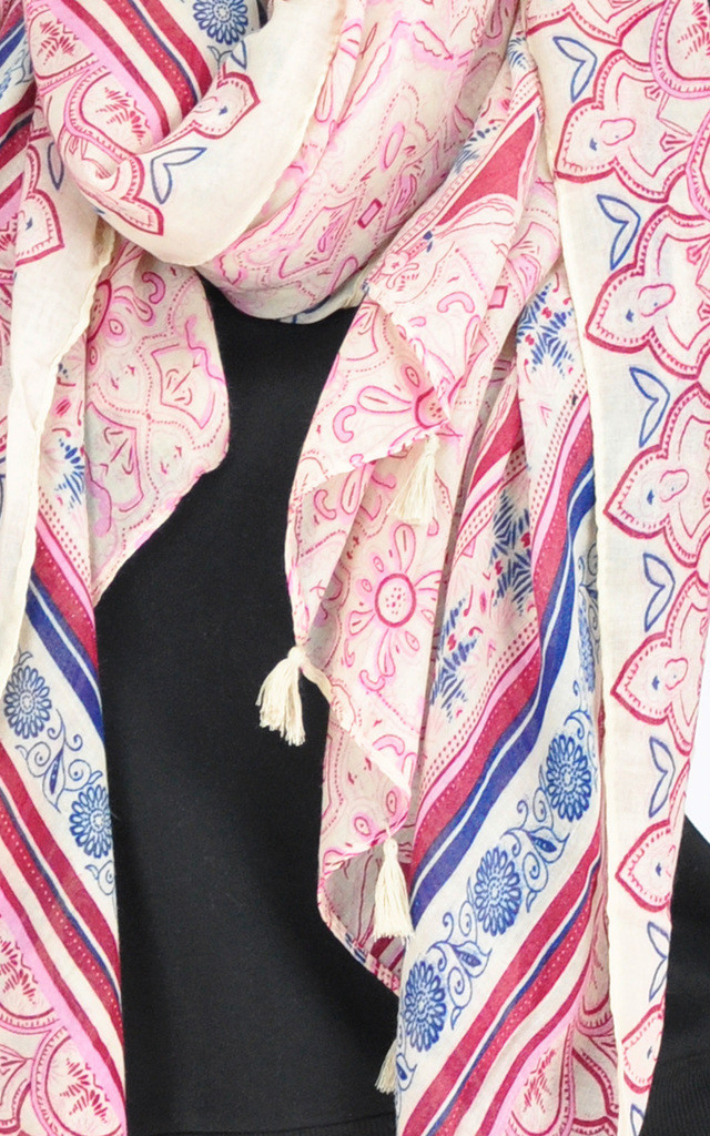 PATTERNED TASSEL SCARF IN PINK by GOLDKID LONDON