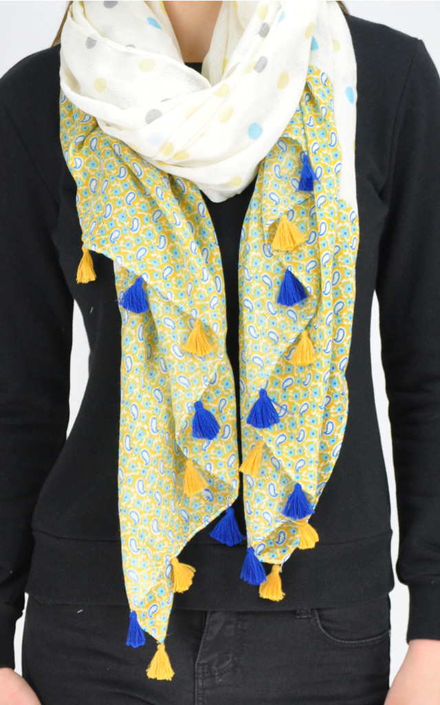 DOTTED PAISLEY TASSEL SCARF by GOLDKID LONDON