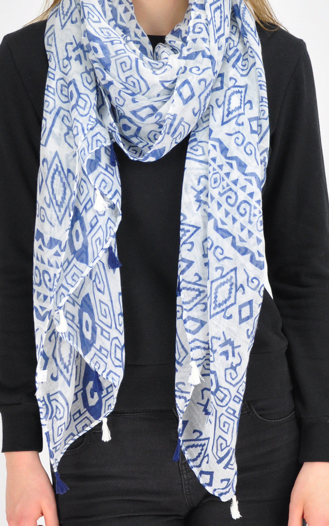 Printed scarf in blue/white by GOLDKID LONDON
