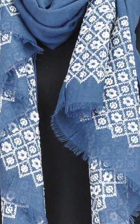 FLORAL PATTERNED FRAYED EDGES SCARF by GOLDKID LONDON