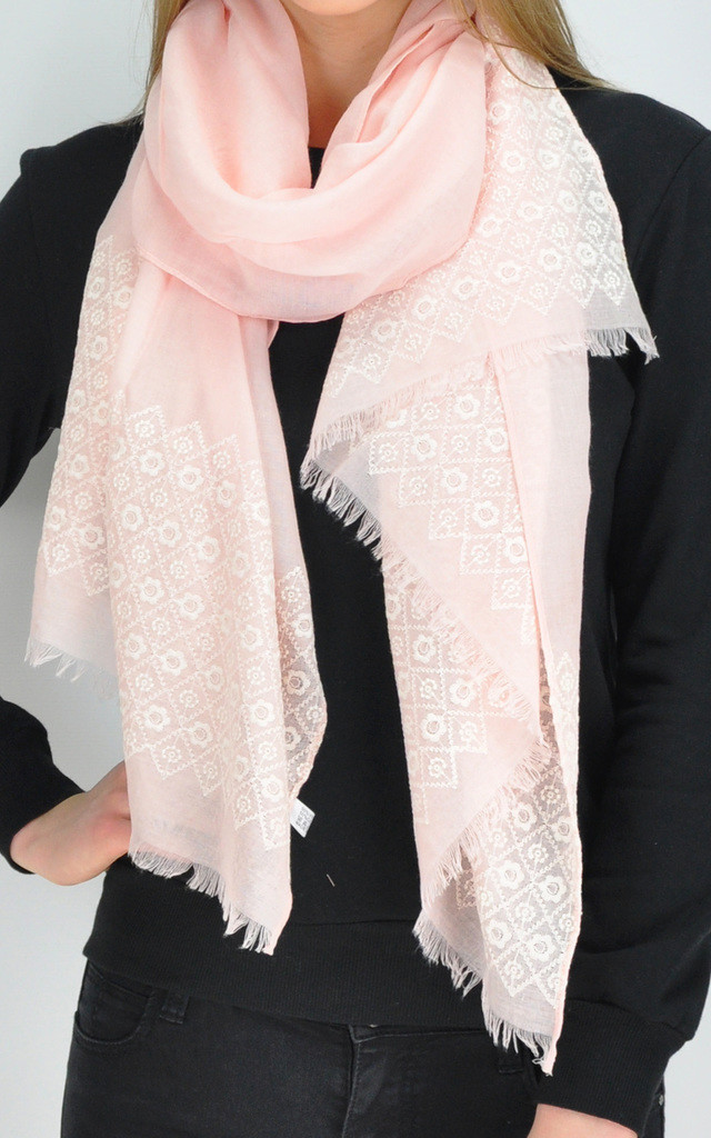 Frayed Edge Scarf in Light Pink Floral Print by GOLDKID LONDON
