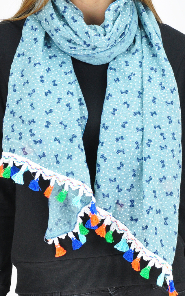 MINI BOW PRINT SCARF IN BLUE by GOLDKID LONDON