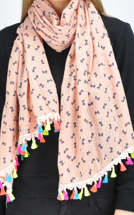 MINI BOW PRINT SCARF IN PEACH by GOLDKID LONDON