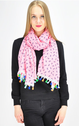 MINI BOW PRINT SCARF IN PINK by GOLDKID LONDON