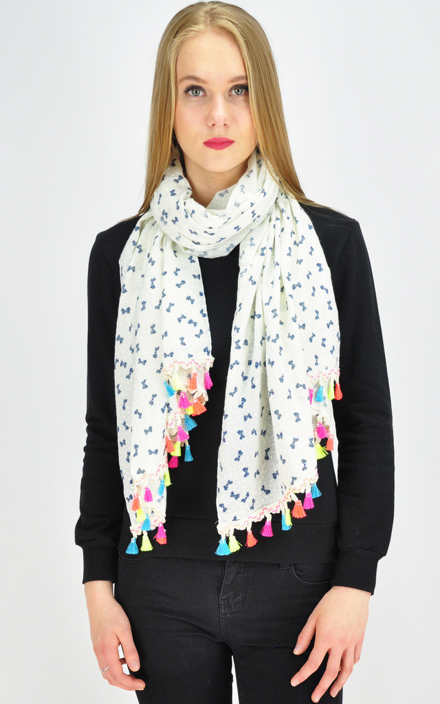 MINI BOW PRINT TASSEL SCARF by GOLDKID LONDON