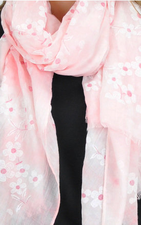 Daisy Print Frayed Edge Scarf in Light Pink by GOLDKID LONDON