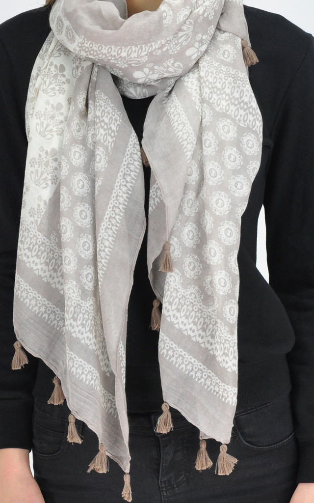 PATTERNED TASSEL SCARF IN BEIGE by GOLDKID LONDON