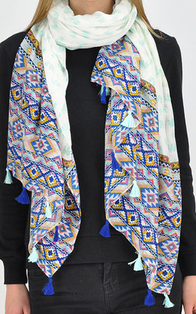 Elephant print scarf with blue tassels by GOLDKID LONDON
