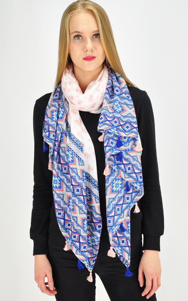 Elephant print scarf in multi by GOLDKID LONDON