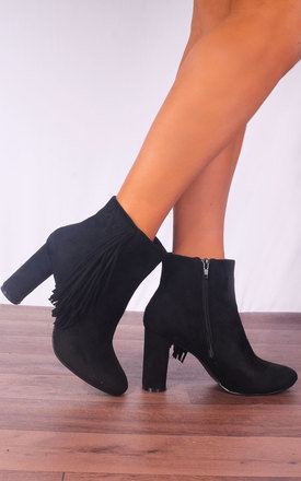 Black Fringed Tassels Round Ankle Boots by Shoe Closet