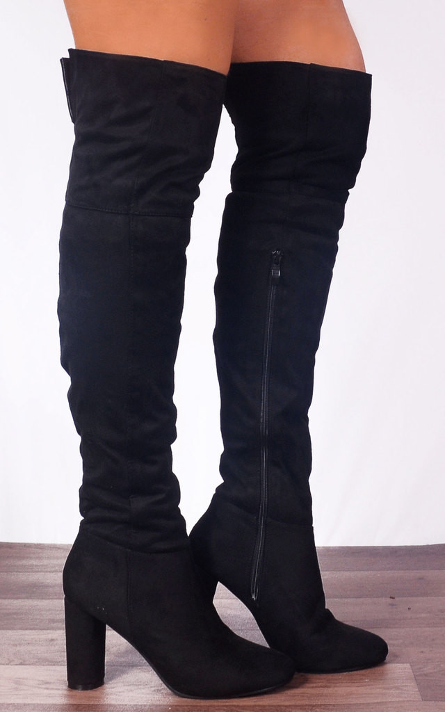Black Over the Knee Tall Suede Style Boots High Heels by Shoe Closet