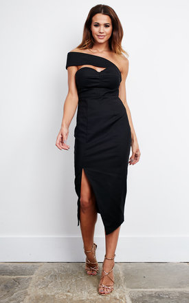 Black split midi dress with shoulder cross over by Ginger Fizz