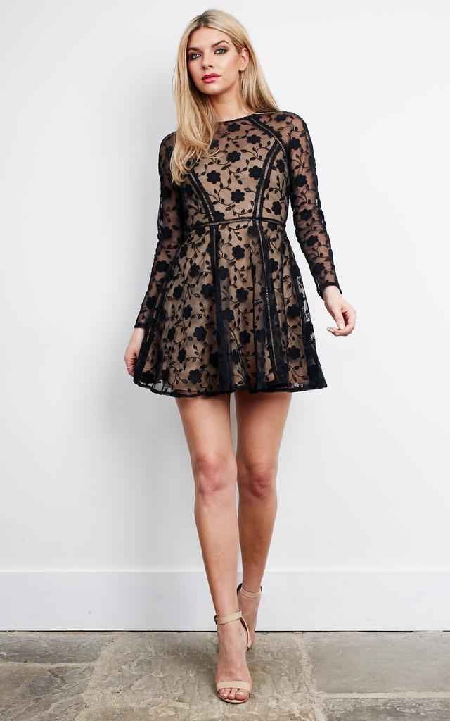 Long sleeve black lace mini skater dress by Love Triangle