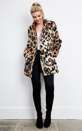Leopard Long Sleeve Fur Coat by Glamorous Product photo
