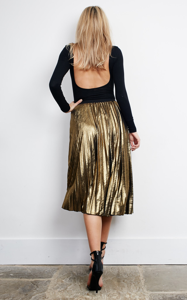 Gold Metallic Pleated Skirt by Lilah Rose