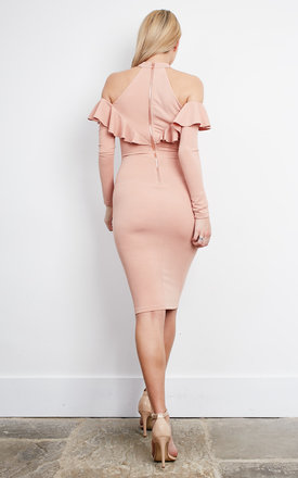 Nude pink off the should long sleeve frill midi dress by Ginger Fizz