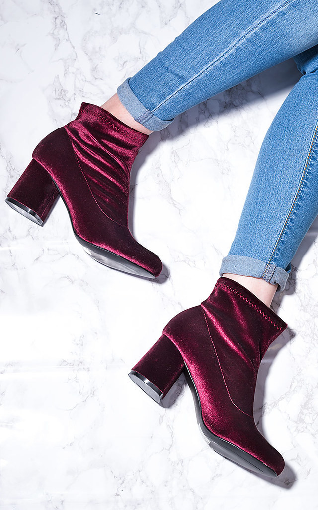 PALATIAL Sock Fitted Flare Block Heel Ankle Boots Shoes - Bordeaux Velvet Style by SpyLoveBuy