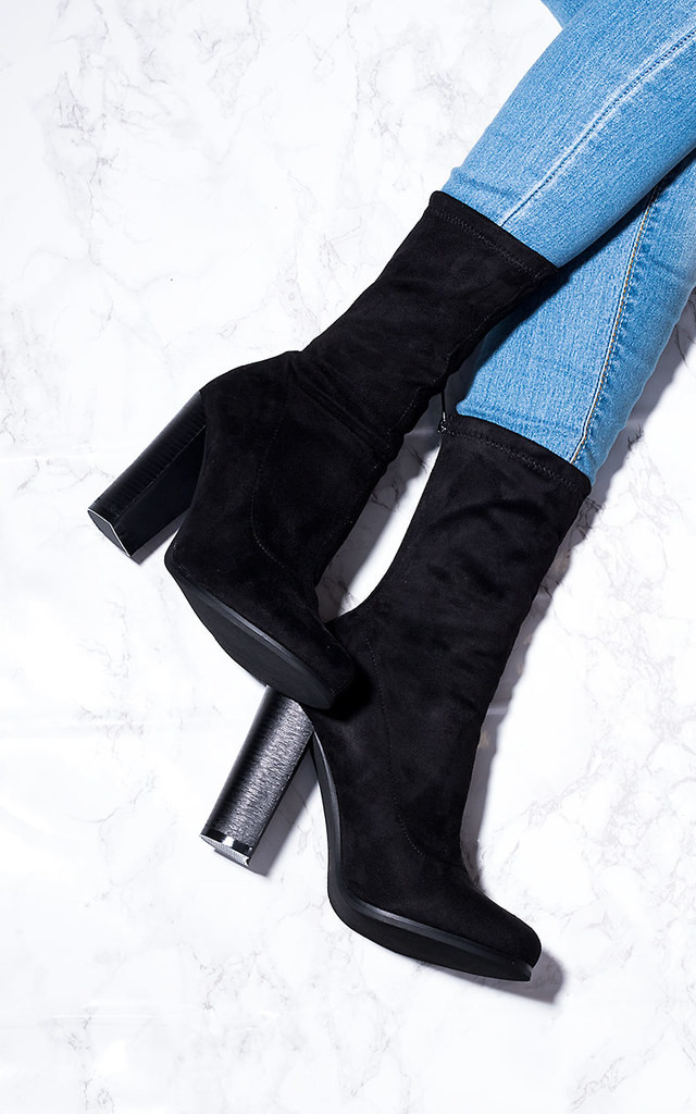 5ad42e615a8 TABITHA Sock Fitted Block Heel Ankle Boots Shoes - Black Suede Style by  SpyLoveBuy