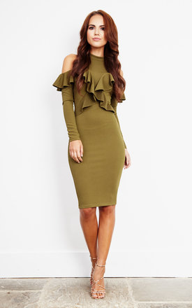 Olive Off The Should Long Sleeve Frill Midi Dress by Ginger Fizz Product photo