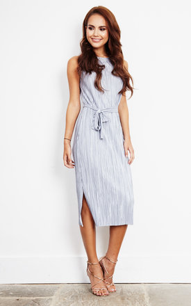 Silver Pleated Midi Tie Dress by Glamorous Product photo