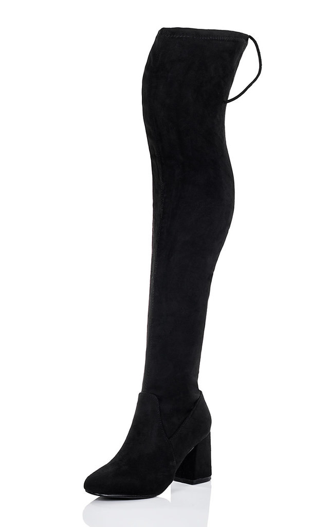 SLEEK Lace Up Flared Block Heel Thigh Boots - Black Suede Style by SpyLoveBuy