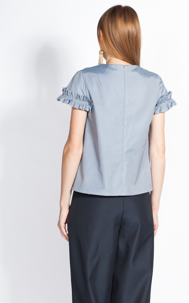 Silver Frill Cap Sleeves Top by ARAMINTI