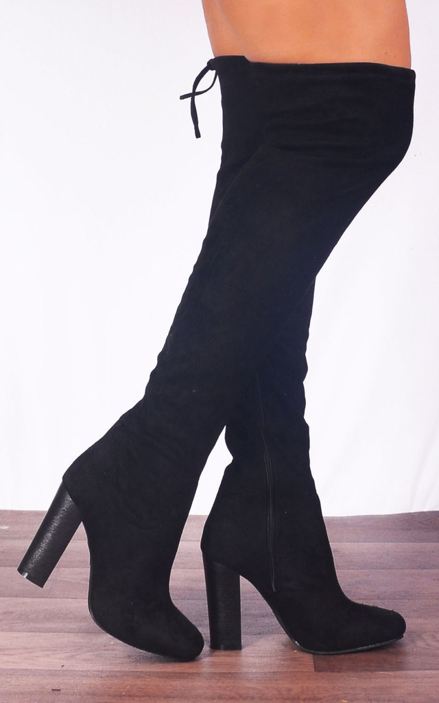 Black Faux Suede Over The Knee Stretch Sock High Heeled Boots High Heels by Shoe Closet