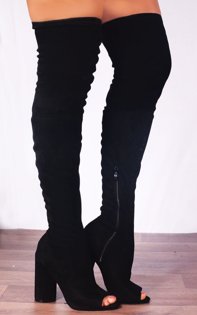 b36cd005189 Black Stretch Thigh High Over the Knee Boots Peep Toes High Heels by Shoe  Closet