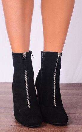 Black Stretch Pull On Ankle High Heels Boots by Shoe Closet