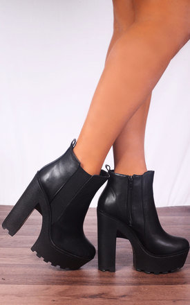 Black Cleated Platforms Elasticated Ankle Boots High Heels by Shoe Closet