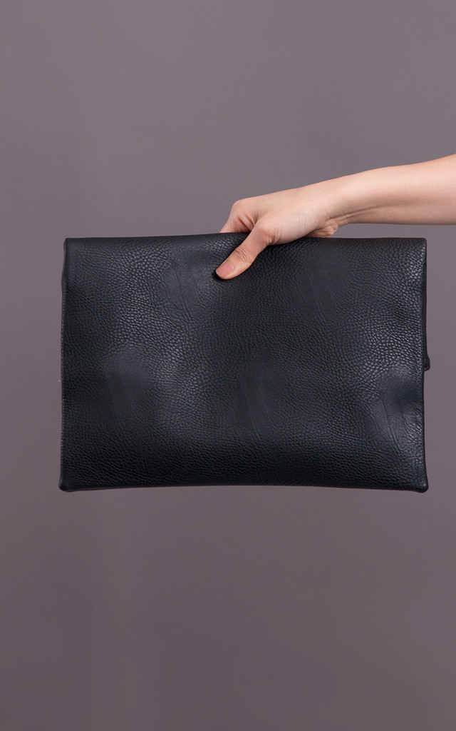 Harper Faux Leather Clutch Bag in Black by KoKo Couture