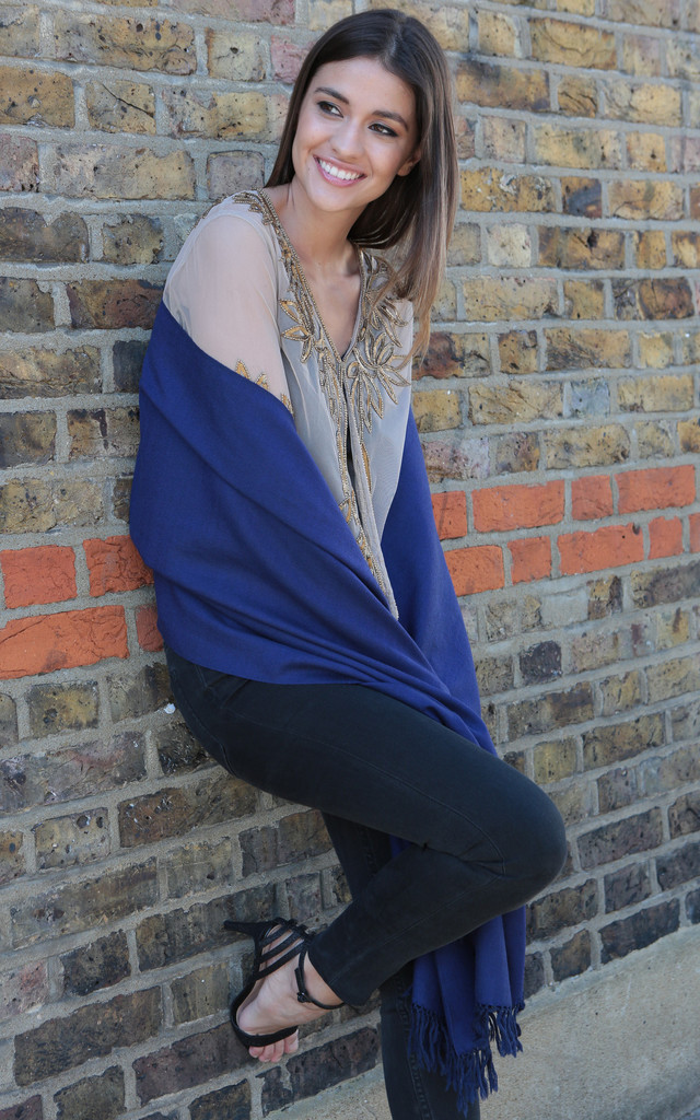 Handwoven Pashmina & Blanket Scarf in Blue Twill Mix Weave by likemary