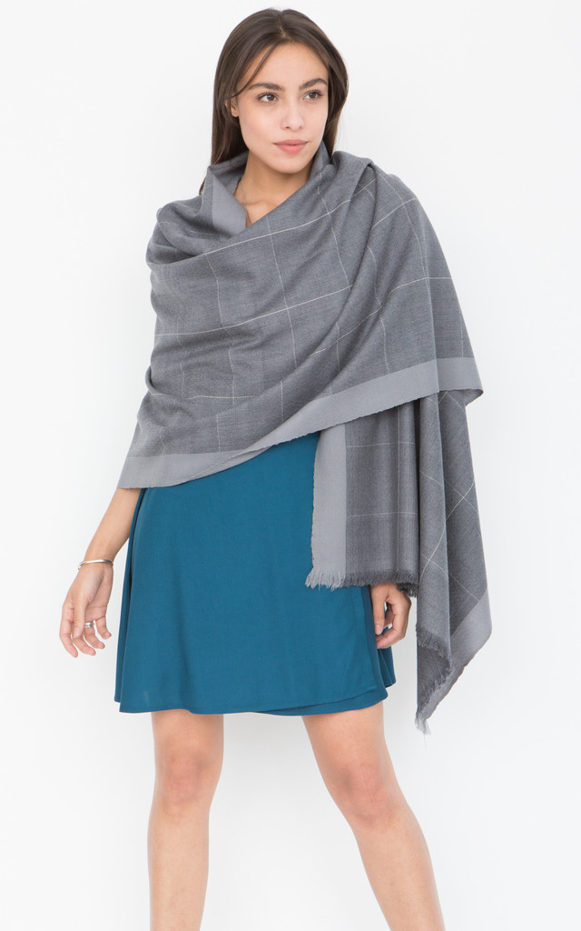 Diamond Weave Textured Merino Wool Pashmina Scarf Grey by likemary