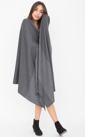 Twill Merino Handwoven Pashmina & Blanket Scarf with Stripes Grey by likemary