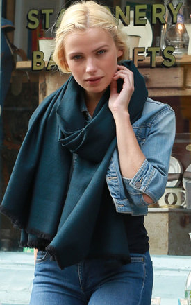 Handwoven Pashmina & Blanket Scarf in Teal Twill Mix Weave by likemary