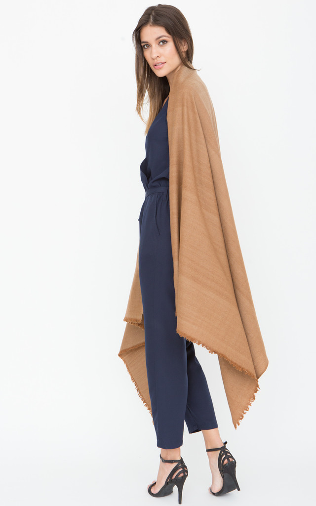 Handwoven Pashmina & Blanket Scarf in Camel Twill Mix Weave by likemary
