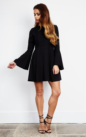 Black Crochet Detail Bell Sleeve Swing Dress by Glamorous Product photo