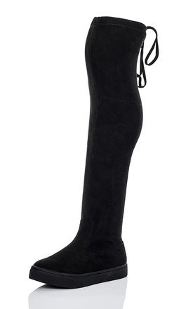 KAROO Lace Up Skater Sole Flat Over Knee Tall Boots - Black Suede Style by SpyLoveBuy