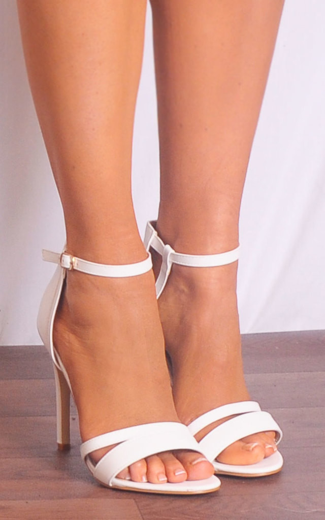 White Barely There Stilettos Strappy Sandals High Heels by Shoe Closet