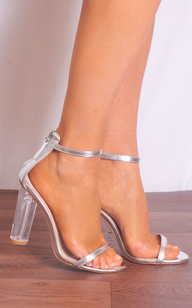 Silver Metallic Clear Glass Perspex Barely There Strappy Sandals High Heels by Shoe Closet